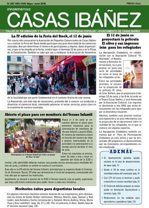 UP Casas Ibañez - Portada del Boletín informativo mayo-junio 2016